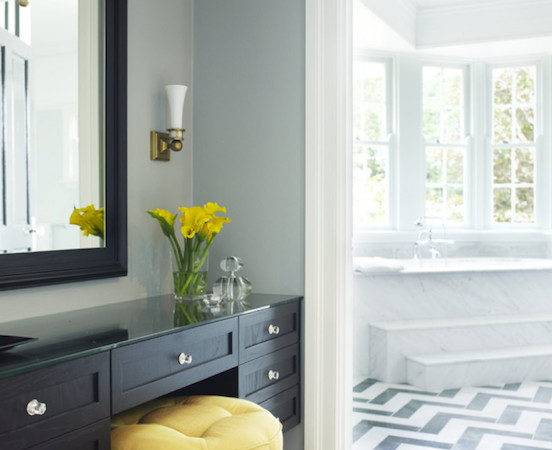 Black Yellow Bathrooms Grasscloth