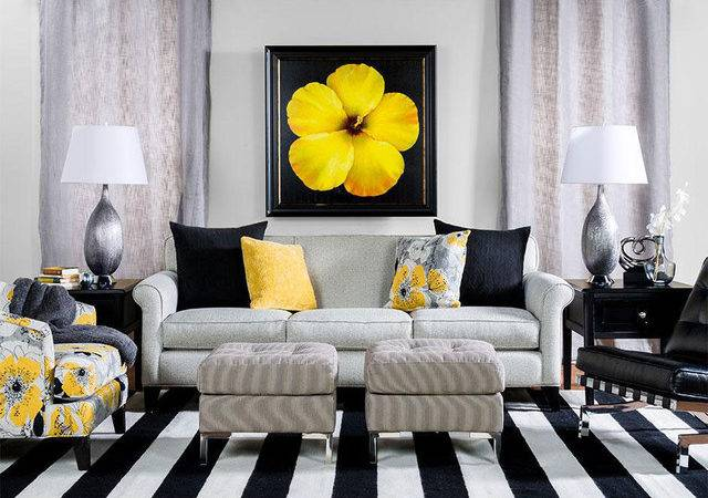 Black Yellow Living Room Contemporary