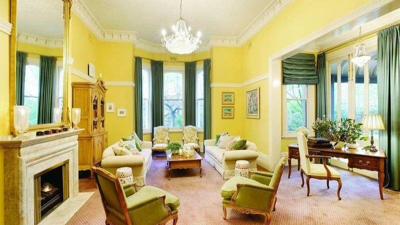 Bloombety Victorian Living Room Yellow Walls
