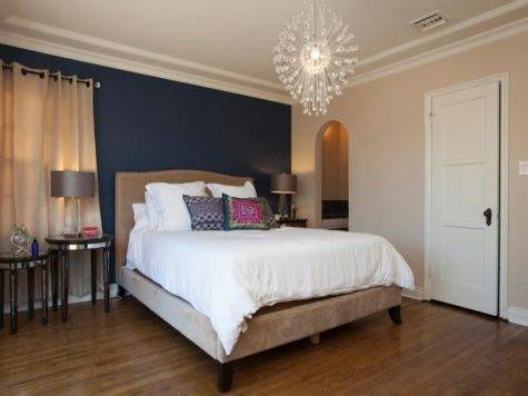 Blue Accent Wall Contemporary Neutral Bedroom Navy
