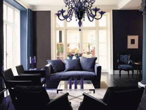 Blue Black Living Room Decorating Ideas Color