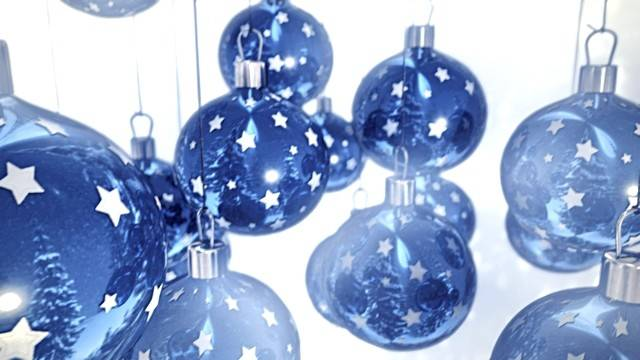 Blue Christmas Balls White Seamless Loop