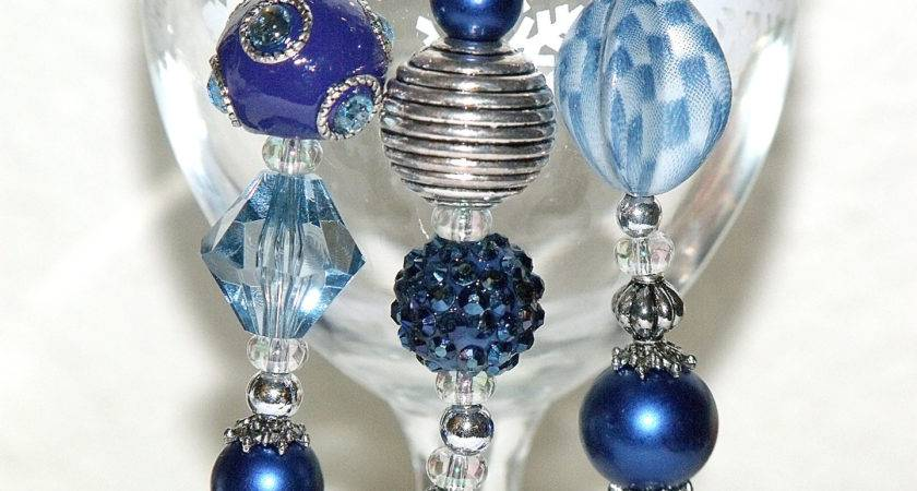 Blue Christmas Bead Ornaments Royal Silver Icicles