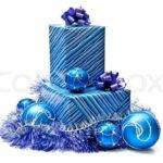 Blue Gifts Boxes Christmas Decoration Isolated
