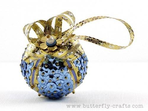 Blue Gold Sequin Christmas Decoration Ornament