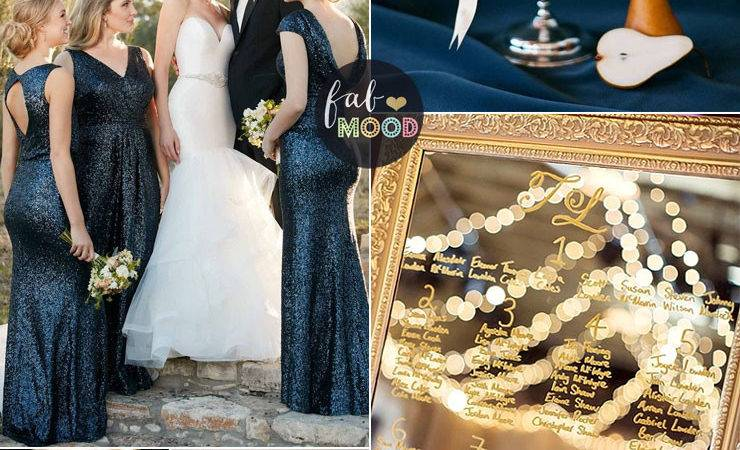Blue Gold Wedding Theme Decoration Ideas