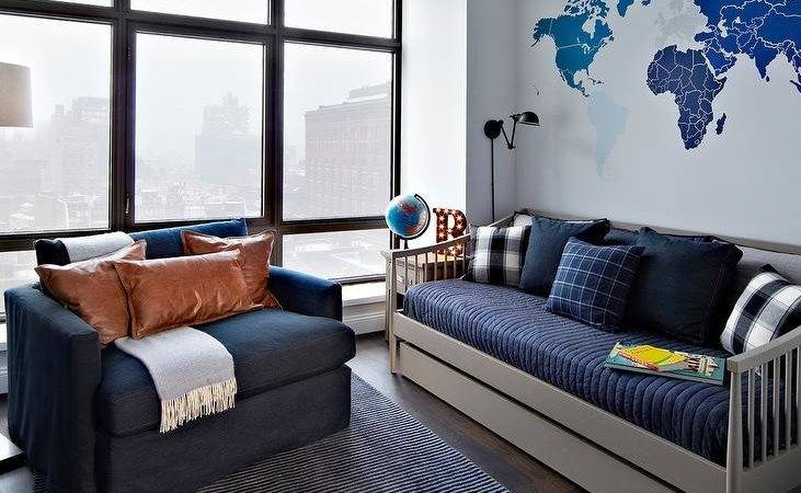 Blue Gray Boys Room Spindle Daybed