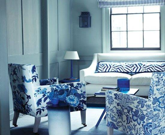 Blue Living Room Decor Grasscloth