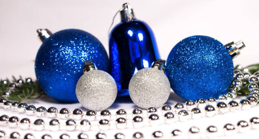Blue Silver Christmas Ornaments Holiday