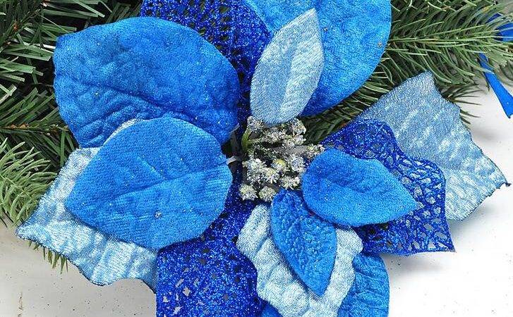 Blue Silver Christmas Ornaments Merry