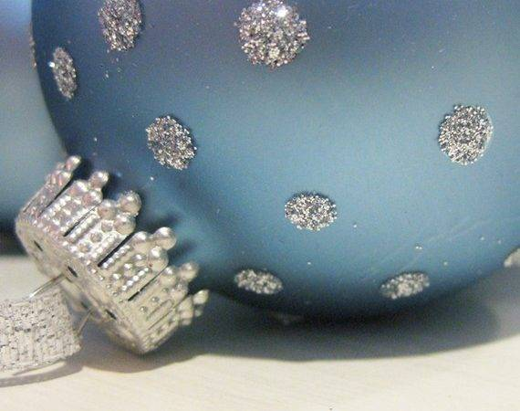 Blue Silver Holiday Ornaments Set Six Littlewishes