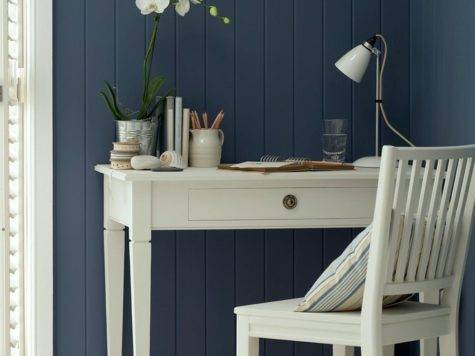 Blue Walls White Furniture Interior Design