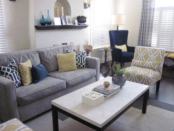 Blue Yellow Cor Ideas Living Room Front Main