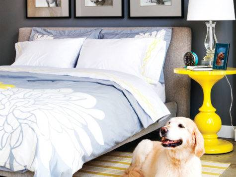 Blue Yellow Gray Bedroom Contemporary Style