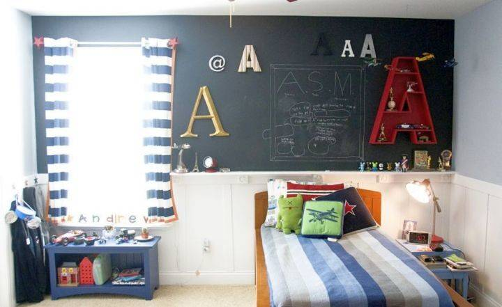 Boys Room Paint Ideas Small Space Chalkboard Wall