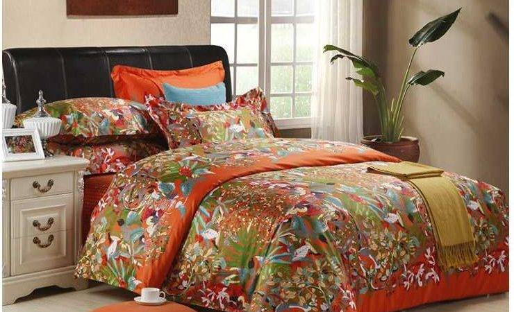 Brand Orange Bedding Set Luxury Egyptian Cotton Sheets