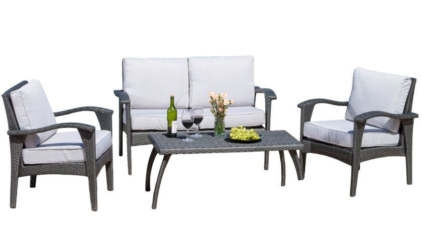 Brevin Outdoor Piece Wicker Seating Set Cushions