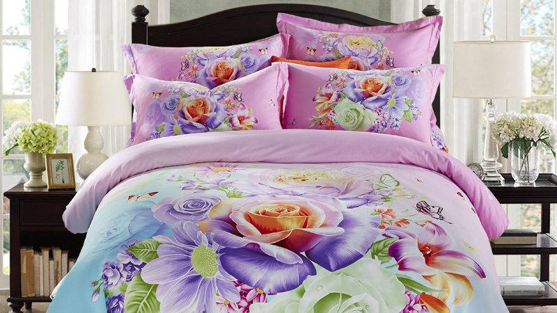 Bright Colored Flowers Daisy Rose Bedding Set Queen King