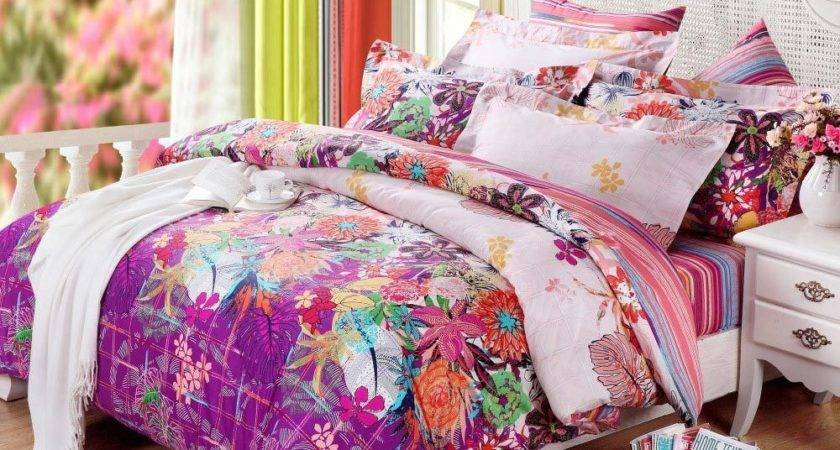 Bright Colorful Bedding Sets Pink White Orange