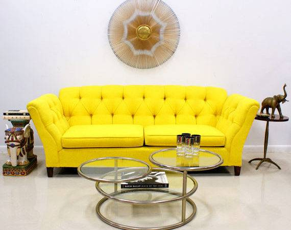 Bright Yellow Button Tufted Sofa Modern
