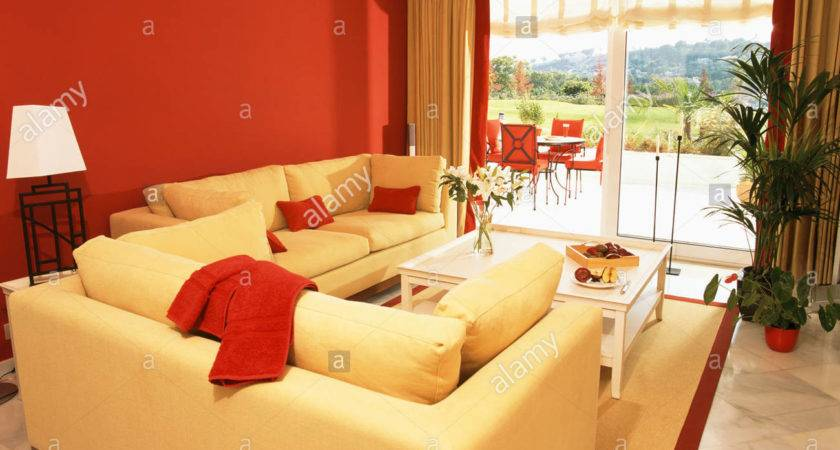 Bright Yellow Sofas Red Wall Modern Living Room