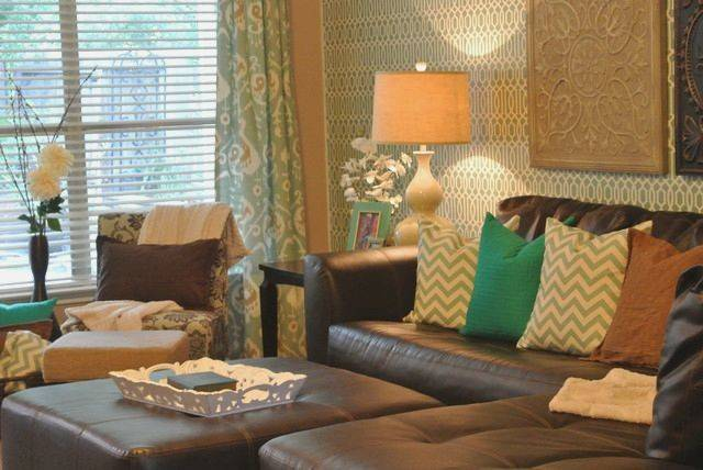 Brown Blue Green Living Room Ideas House Decor