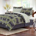 Brown Grey Shadow Box Lime Piece King Bed Bag Set