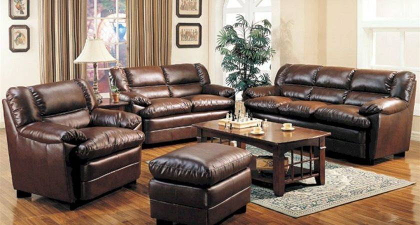 Brown Leather Living Room Sofa Sets