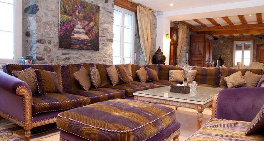 Brown Purple Living Room Glass Top Table Ideas