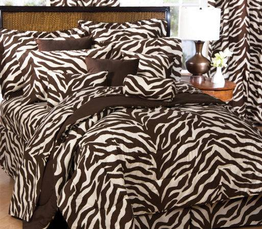Brown Tan Zebra Print Comforter Bedding