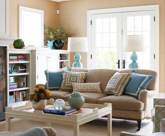 Brown Turquoise Living Room Contemporary