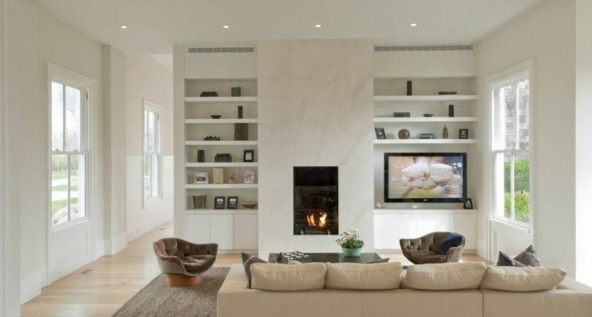 Built Shelves Around Fireplace Living Room Traditional