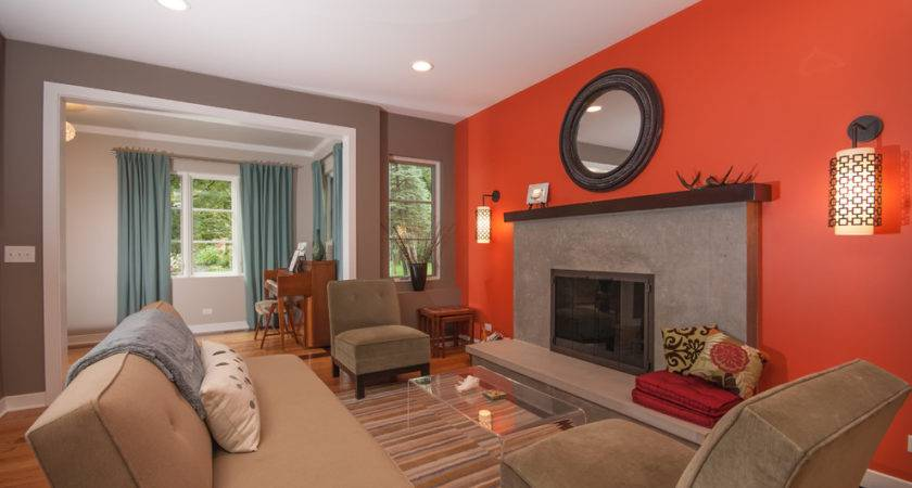 Burnt Orange Wall Paint Living Room Contemporary