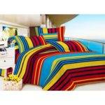 Buy Carah Multi Colored Striped Double Bedsheet Two