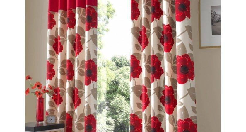 Buy Harper Red Poppy Ring Top Curtains