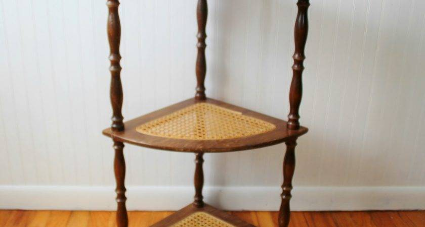 Caned Wooden Corner Shelf Stand Knick Time