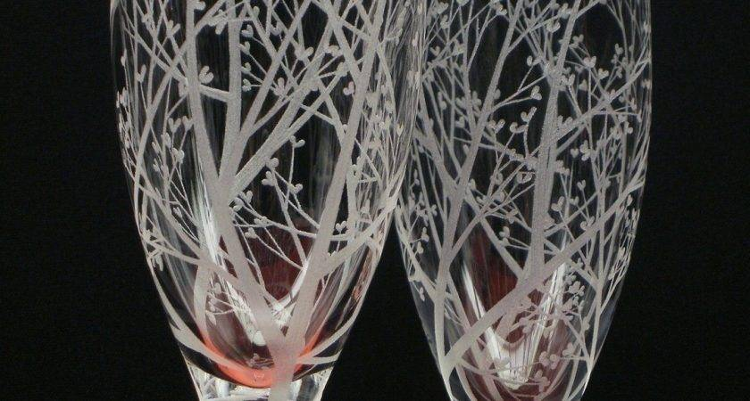 Champagne Flutes Hand Engraved Crystal Glass