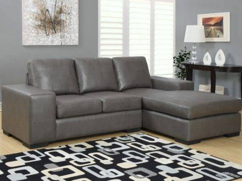 Charcoal Gray Bonded Leather Match Sofa Sectional