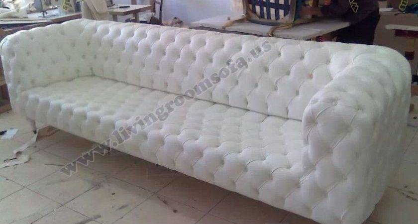 Chesterfield White Leather Sofa Magnificent