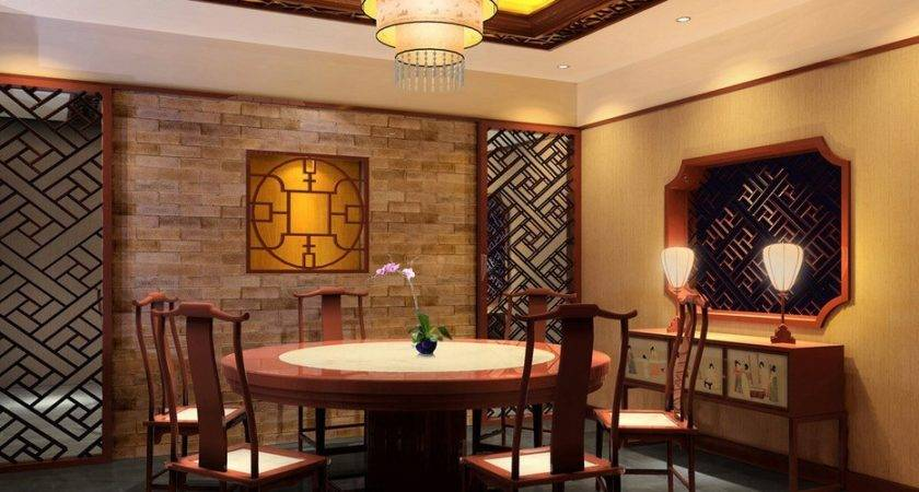 China Dining Room Design Night Rendering House