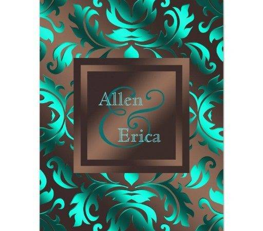 Chocolate Brown Teal Wedding Invitations