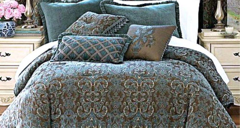 Chris Madden Avondale Teal Blue Brown Comforter