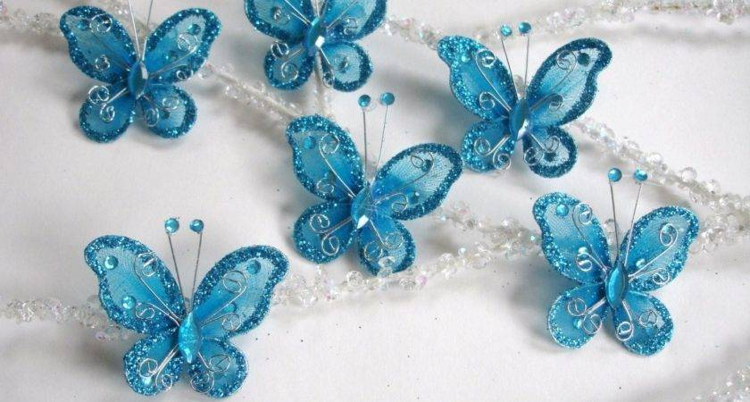 Christmas Blue Butterfly Ornament Decoration Shabby Chic