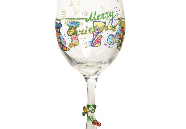 Christmas Wine Glass Hand Painted Holiday Stockings