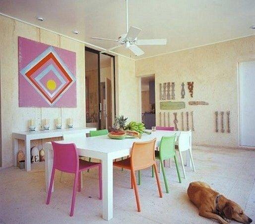 Colorful Dining Chairs Round Glass Table