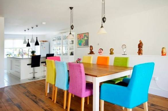 Colorful Dining Chairs Wooden Table