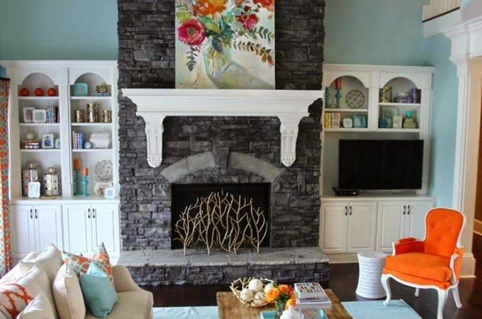 Colorful Living Room Turquoise Orange House