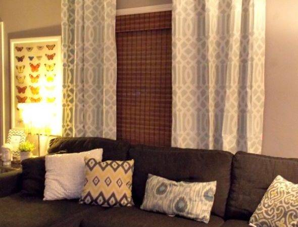 Colour Curtains Grey Walls Brown Sofa