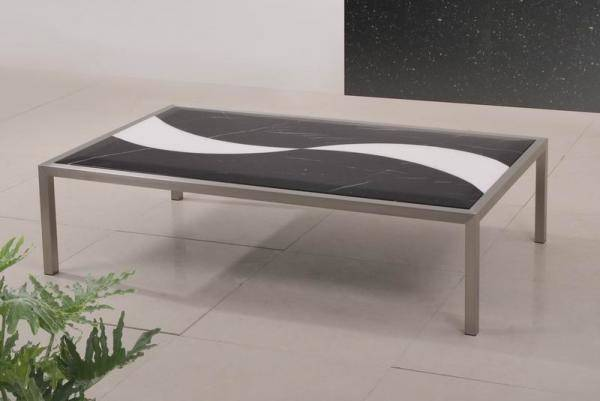 Contemporary Black Glass Gmw Marble Coffee Tables Brushed