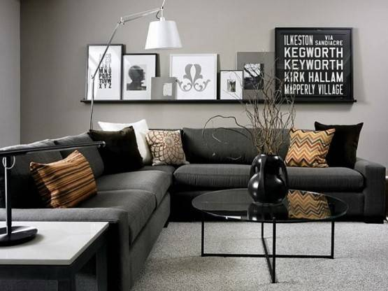Contemporary Black Grey Living Room Home Interiors